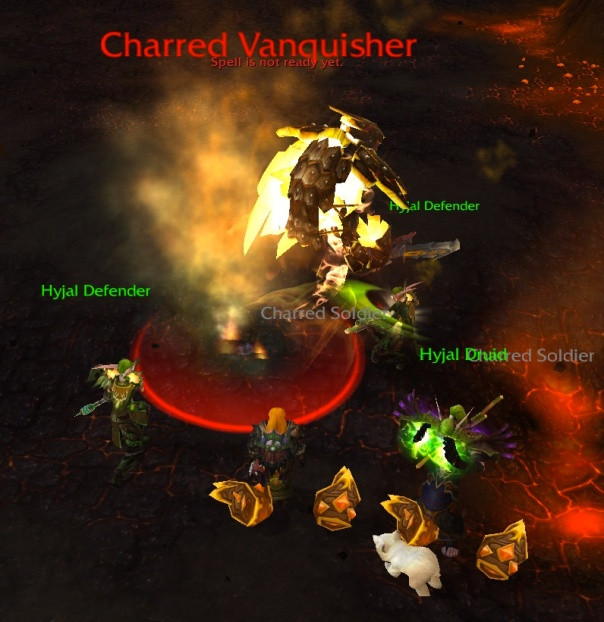 Hyjal Defenders fighting a Charred Vanquisher